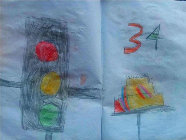 Šestogodišnji Strahinja Marković nacrtao je semafor i rođendansku tortu