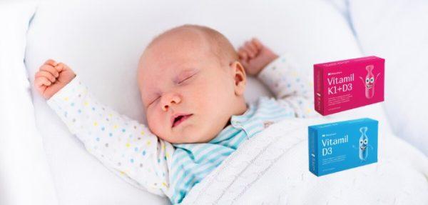 Vitamil K1D3 sadrži vitamine K1 I D3 neophodne bebama od rođenja do trećeg meseca, Vitamil D3 sve do treće godine.